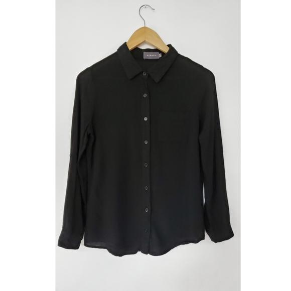Mirror Black Linen Button Down